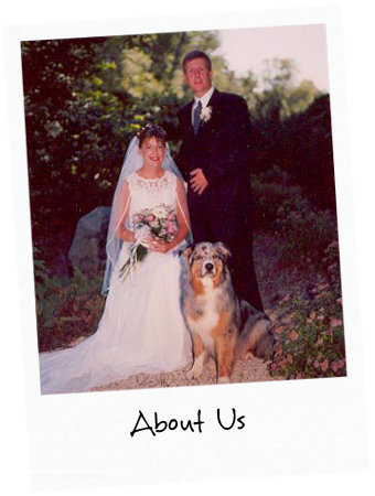 Wedding picture of Shawna, husband and shepherd with title: About Us